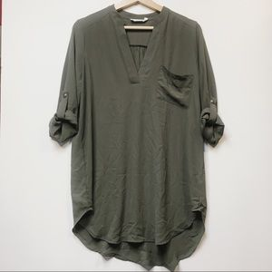 Lush Green 3/4 Length Sleeve V Neck Blouse